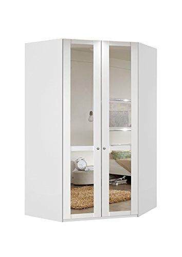 Eckschrank, Eckkleiderschrank, Kleiderschrank, Spiegeltüren, Wäscheschrank, Landhausstil, Schlafzimmerschrank, Schranksystem, alpinweiß, weiß