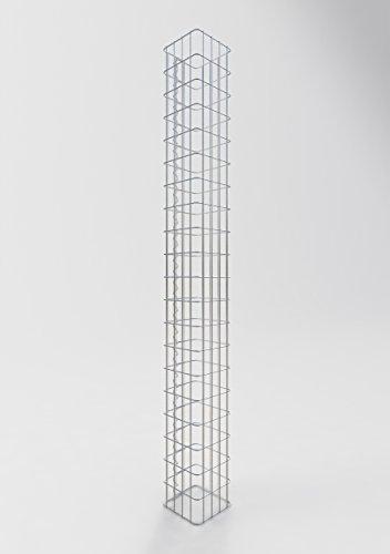 GABIONA Säule Steinkorb-Gabione eckig, Maschenweite 5 x 10 cm, Höhe 200 cm, Spiralverschluss,...