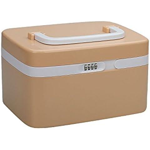 TSSS-CF101 Combination Lock Medizin-scatola-Locking Rezept Pille Fall-contenitori di stoccaggio con separati separare con una parete, plastico, Marrone, 27 x 18 x 16 cm
