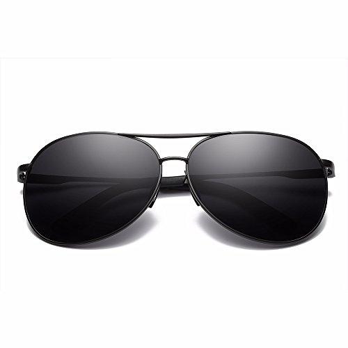 Herren Polarisierte Sonnenbrille Aviator Freien UV400 60MM Tac Gläser für das Fahren - BLDEN GL8013-BLACK