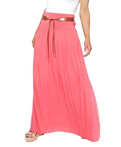 KRISP 4809-COR-LXL, Falda Larga Bohemia Elegante Plisada Hippie Cintur
