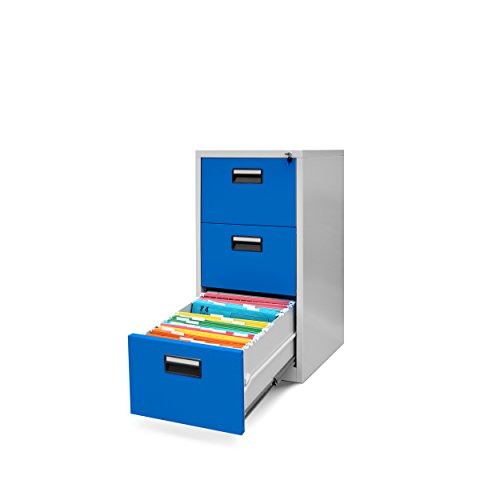 Jan nowak by domator24 v003 classificatore per cartelle sospese v003a armadio con 3 cassetti lamiera d'acciaio 102 cm x 46 cm x 62 cm (grigio/blu), metallo, 102 x 46 x 62 cm