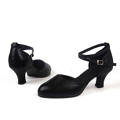 Silence @ pour femme Chaussures de danse latine en daim/paillettes scintillantes/synthétique Talon cubain Noir/rouge/argenté/doré Red