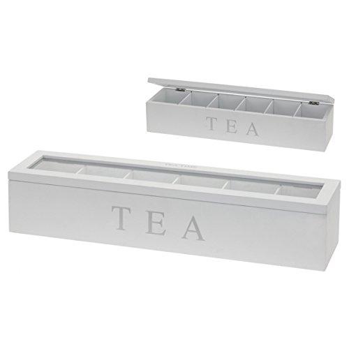 Teebox Teekiste Holz mit 6 Fächern und Sichtfenster Teebeutelbox weiß