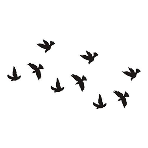 URSING Wasserdicht Adler-Feder-Schwalbe Temporäre Tattoos 3D Schmetterling Blume gefälschte Ta für Arm Körper Rücken Bein temporäre Tätowierungs-Art- und Weisekörper-Kunst-Aufkleber (Schwarz)
