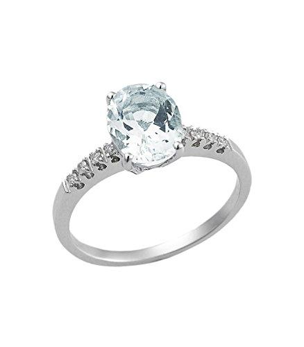 Anello in oro bianco 18k con diamanti e acquamarina - 8