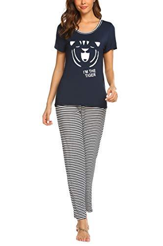 Balancora Pyjama Damen Kurze Ärmel Schlafanzug Set Süße Mode Nachtwäsche Streifen Lang Hose Zweiteiliger - Streifen-pyjama-set