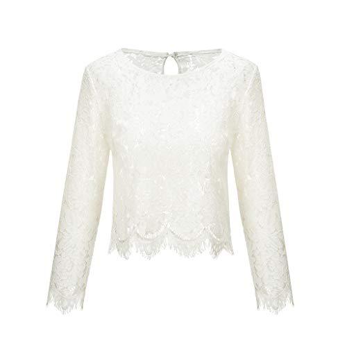 Damen Bustier Bauchfrei Volltonfarbe Lange Ärmel Unregelmäßig Spitze Oberteile T-Shirt unregelmäßig Soild Tunika Hemd Kurze Bluse,Weiß,S
