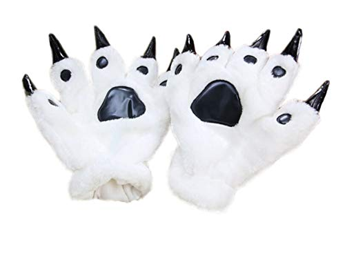 Firestar Cosplay Tier Pfote Klaue Hand Handschuhe, warme Plüsch Kostüm Party Pet Bär Katze Cartoon Handschuhe für Frauen Männer (Weiß)