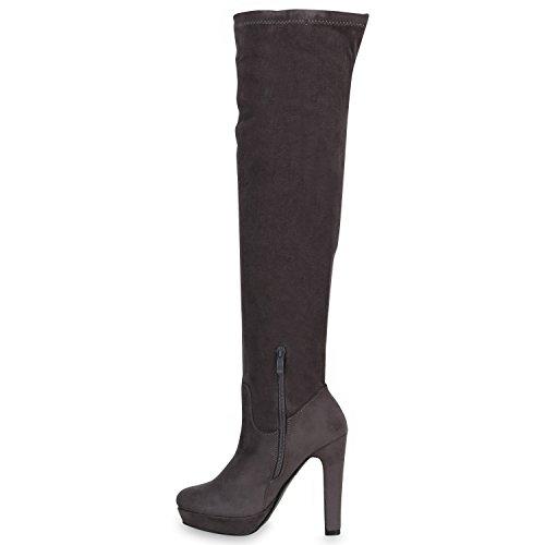 Damen Overknees Plateau Stiefel Langschaft Stilettos Lederoptik Grau