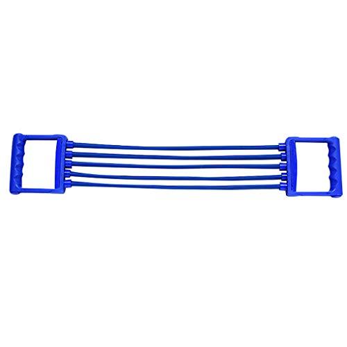 MA87 Expander Pull Stretcher Muskeltraining Fitness verstellbar 5 Feder Gummi (Blau)