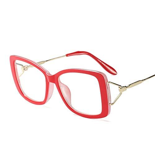 Duhongmei123 Mode Brillen Frauen-Retro quadratische klare Linsen-Gläser, ultraleichter Rahmen. Occhiali (Farbe : Red)