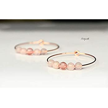 Ohrringe Creole Rosenquarz roségoldfarben/Geschenk für Sie/Edelstein Ohrringe/besonderes Geschenk/Party Creolen/Moderne…