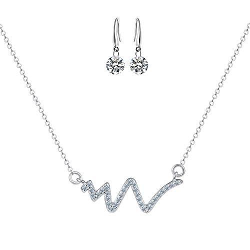Halskette Silber Damen Halskette Herzschlag Anhänger EKG Halskette Rose Gold 925 Silber Schlüsselbein Kette Lebenslinie Puls Anhänger Herzschlag Halskette für Frauen (Silver)