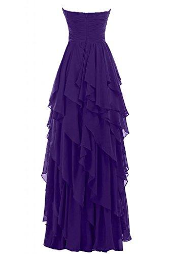Sunvary Liebling Herzform Traegerlos Abendkleider Hi-Lo Chiffon Cocktailkleider Brautjungfernkleider Partykleider Violett