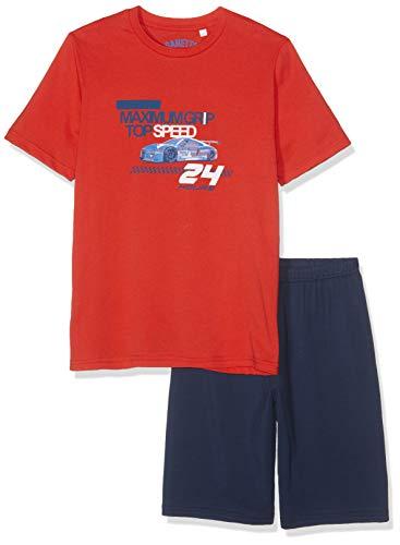 Sanetta Jungen Zweiteiliger Schlafanzug Pyjama Short Rot (Flamme 3799) 128 -