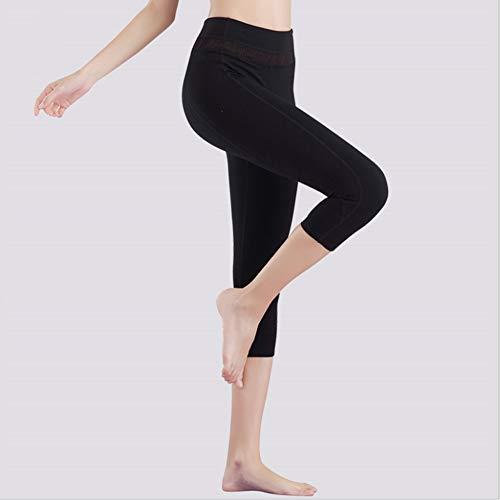 Grist CC Yoga Hosen Damen Sport Leggings Elastische Tummy Control Lange Laufhose Schnell Trocknend Schwarz,M