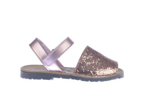 Sandales pour petites filles Menorquinas Glitter tout en cuir mod203. Chaussures Enfant Made in Spain produit de qualité. Rose - rose