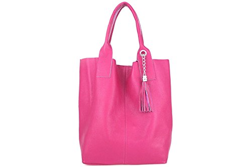 Borse a Spalla Donna Shopping Style in Vera Pelle, Made in Italy Rosa