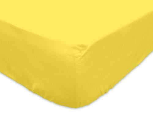 Sábana Bajera Jersey de algodón 90x190 cm Amarilla