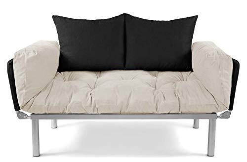 EasySitz Schlafsofa Sofa 2 Sitzer Kleines Couch 2-Sitzer Schlafsessel für Zweisitzer Personen Mein Futon Sitzen EIN Einer Farbauswahl (Creme & Schwarz)