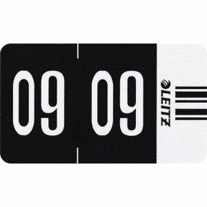 Leitz Orgacolor 67091095 - Etiqueta de identificación del año (2009, 500 unidades), color negro