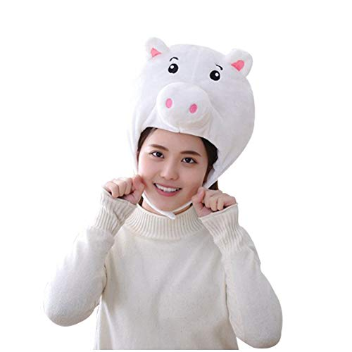 Bontand Unisex Cute Pig Anime Plüsch-Kappen-Kopf-Abdeckung Tier Cap Cosplay Props Zubehör Nette Warme Wintermützen