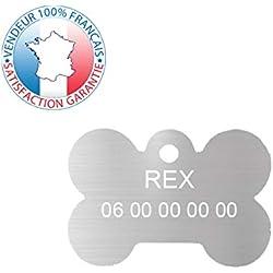 GRAVURE CONCEPT Médaille pour Chien | Médaille gravée Personnalisable | 1 à 3 Lignes (Argent, Os)