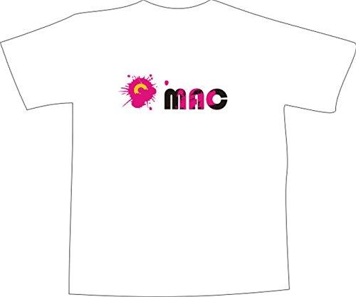 T-Shirt E426 Schönes T-Shirt mit farbigem Brustaufdruck - Logo / Grafik - minimalistisches Design - einfacher Schriftzug MAC mit Symbol Weiß