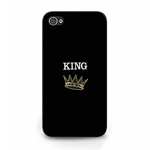 Fashion Camouflage Design King Queen Couple Phone Case Cover Solid Skin Protetive Shell for Iphone 4/4s King Queen Lovers Classic Color100d
