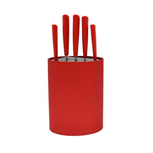 Bloc 5 couteaux lame inox rouge
