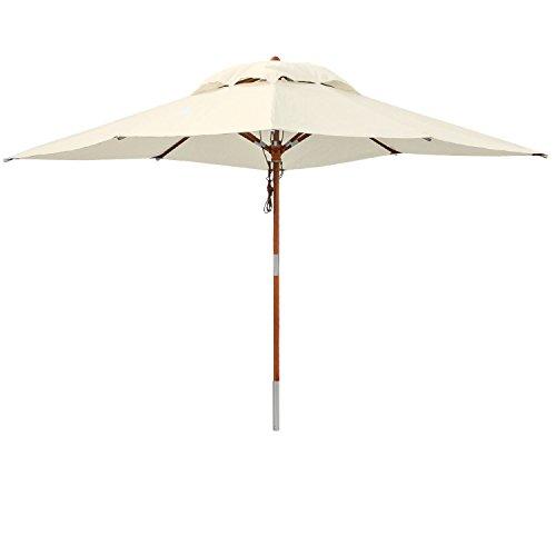 anndora Sonnenschirm New System 3x3m Elfenbein Holzschirm Gartenschirm Parasol