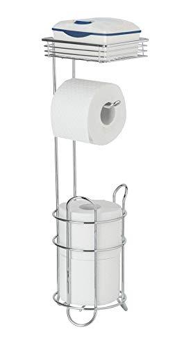 WENKO Toilettenpapierhalter stehend mit Ablage & Ersatzrollenhalter - verchromtes Metall, 59x16x59cm