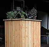 HOQ 63000265 - Hochbeet 60 x 60 x 100 cm aus 16 mm Lärchenholz mit Pflanzenvlies und Boden
