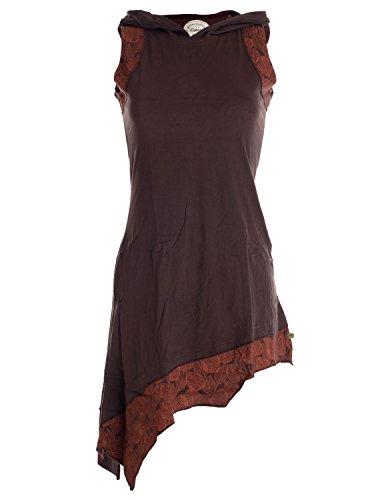 Vishes - Alternative Bekleidung – Asymmetrisches Baumwoll-, Zipfel-, Elfenkleid mit Zipfelkapuze braun 40