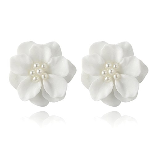 Kofun Ohrringe, Elegant Resin White Camellia Flower Petals Earrings for Women Jewelry Kamelien Ohrringe