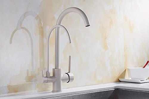 YAWEDA Multi Farben Drehbare Filter Gesunde Küchenarmatur Dual-Griff Zwei Spout Trinkwasser-Hahn Reinigung Hahn, Hafer Farbe -