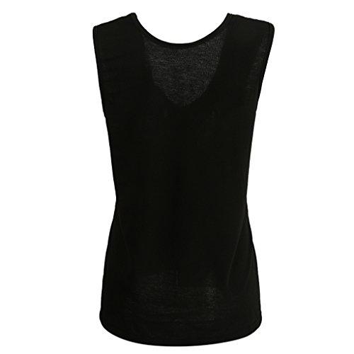 MagiDeal Donne Senza Maniche Scollato T-shirt Magliette Camicie Top Canotte da Estate Nero