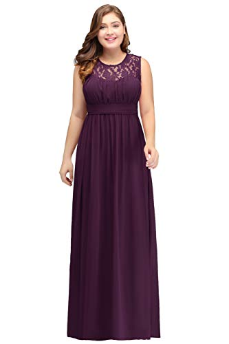 MisShow Damen Chiffon Brautjungfernkleid Grosse grössen Hochzeit Kleid lang Dunkel Lila 54 - Kleid Lila Chiffon-langes