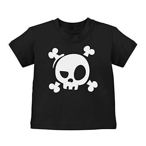 Fashionalarm Baby T-Shirt - Cooler Totenkopf | Baby-Shirt mit Spruch Halloween Kostüm Motiv als lustige Geschenk-Idee für Jungen & Mädchen, Schwarz 12-18M (76-86 (Lustige Kostüm Für Schwarze Jungs)