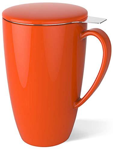 Sweese 201.106 Teetasse mit Deckel und Sieb, Becher aus Porzellan für Losen Tee Oder Beutel, Orangerot, 400 ml