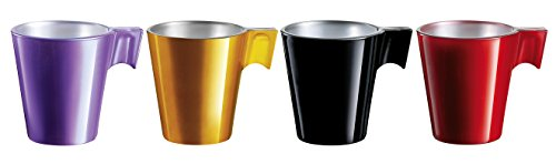 Luminarc Set 4 Tazas 8 cl Colores Surtidos Flashy Expresso (Coffe, Rosa, Mint y Caramelo). Resistentes a choques mecánicos y térmicos, Multicolor, 1.13 cm, 4 Unidades