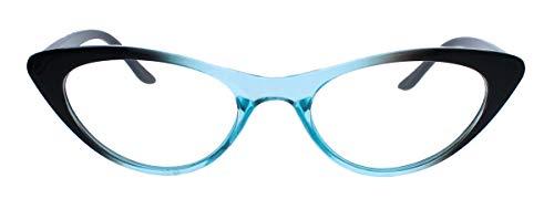 Teal Mode (50er Jahre Katzenaugen Brille Cat Eye Modell Klarglas Mode-Brille CN23 (Schwarz Teal))