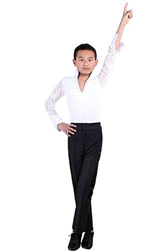 Tanz Jungen Kostüm - BOZEVON Jungen Klassiker Mode V-Kragen Latein Tanz Kostüme Kinder Performance Tanzen Spitze Lange Ärmel Hemd Jazz Outfits, Weiß, 170/Geeignete Höhe:160-165cm