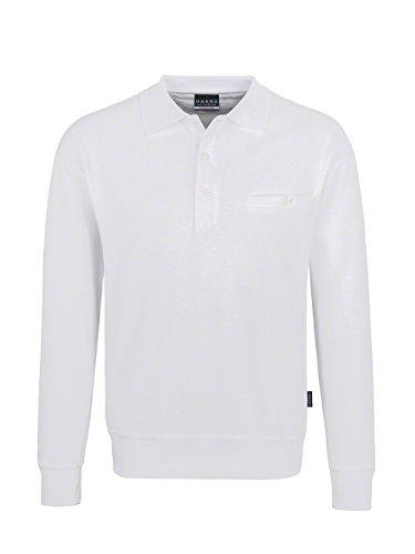 HAKRO–Polo da uomo, a maniche lunghe, con taschino, Felpa premium # 457 Bianco