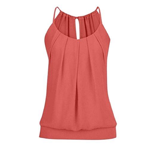 PAOLIAN Damen Tank Tops Sommer Übergröße Weste Ärmellos Trägertop Bluse lose Geknitterte Cami Basic Shirt Oberteile T-Shirt (S, Rot) -