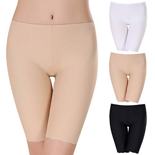 Boyshort Aus Seide (Voqeen 3er Pack Damen Unterhosen Unterwäsche Pantys Hipster Seamless Panties Slip Sexy Taillenslip, Schwarz-hautfarbe-weiß, DE 44-46:Taille 82-90cm(Etikett XXL))