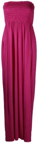 Purple Hanger - Longue Robe Bustier Femme Sans Bretelles Elastique Bandeau Uni Eté Cerise