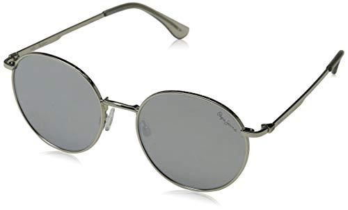 Pepe Jeans Unisex-Erwachsene Hollis Sonnenbrille, Silber (Shiny Silver/Grey), 51.0