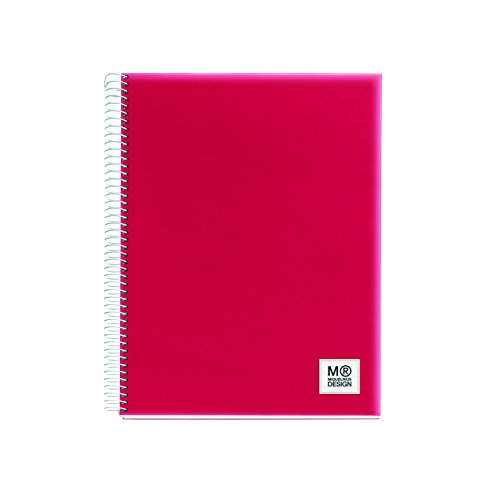 miquelrius-2765-notebook-5-colours-a5-125-sheets-squared-80-grams-polypropylene-red